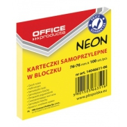 Bloczek samoprzylepny Office Products 76x76mm 1x100 kart neon żółty
